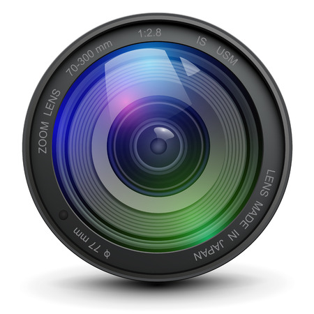 Camera photo lens, vector illustration