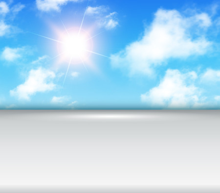 clouds: Sunny background with copy space, blue sky with white clouds and sun, vector illustration.