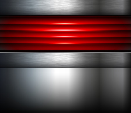 aluminium texture: Abstract  background silver red with metallic elements, 3D vector illustration.