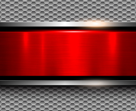 Background metallic silver with red metal banner, vector illustration. Иллюстрация