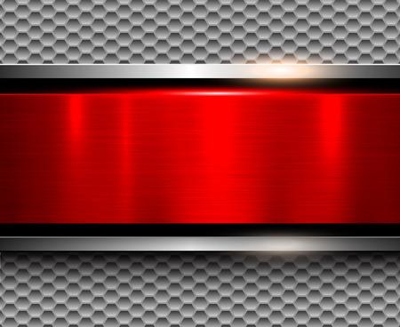 Tło metaliczne srebro z czerwonym metalowym sztandarem, ilustracji wektorowych.