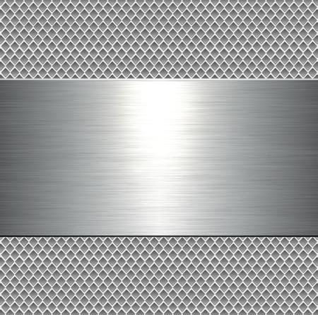 Metallic background, metal plate texture - vector polished metal