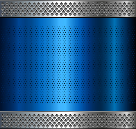 Metallic background, metal perforated texture, vector polished metal