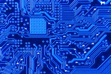 electronic scheme: Electronic circuit board close up. Stock Photo
