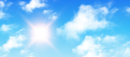 view: Sunny background, blue sky with white clouds and sun, vector illustration.