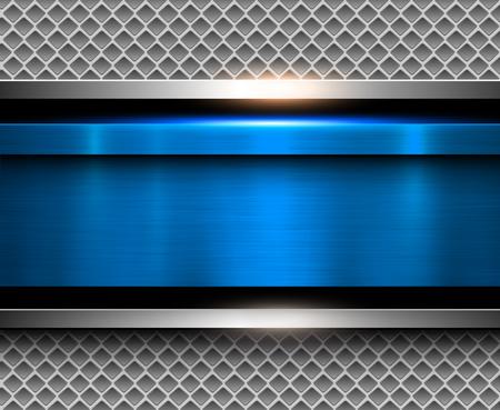 Achtergrond metallic blauw met geborsteld metaal textuur, vectorillustratie.