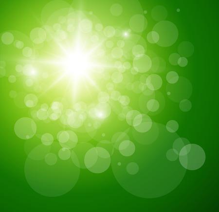 Sonniger grüner Hintergrund, Vektorillustration. Vektorgrafik