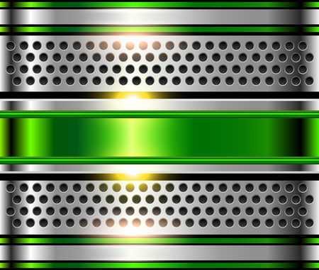 cromo: Fondo de metal plateado, placa de cromo metálico verde brillante. Vectores