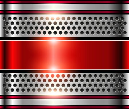 shiny metal: Silver metal background, shiny red metallic chrome plate.