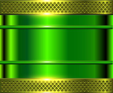 Green metallic background, metal perforated texture, vector polished metal Illustration