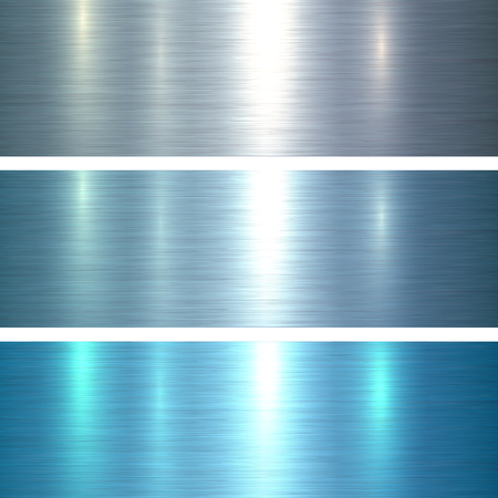 metal sheet: Metal textures blue brushed metallic background, vector illustration.