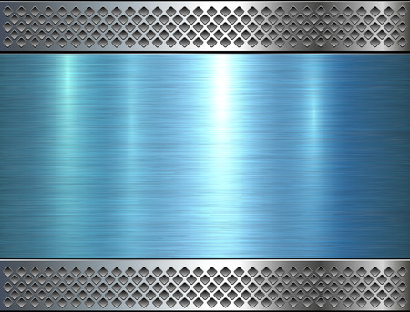 Metallic background, blue metal perforated texture, polished metal Ilustrace