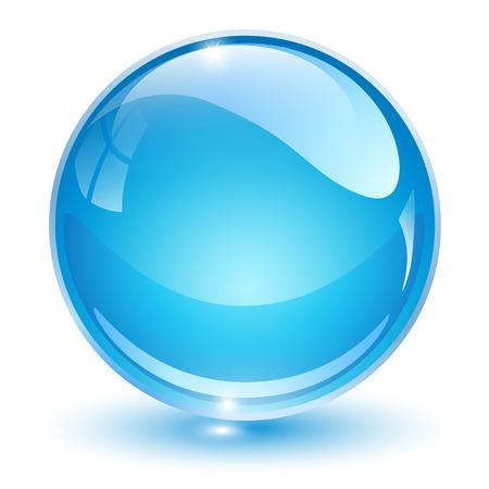 Szklana kula, niebieska piłka wektor 3D.