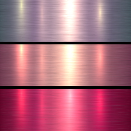 Metal textures pink and red brushed metallic background, vector illustration. Illustration