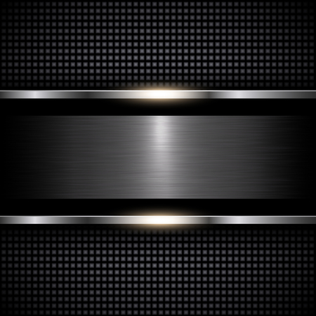 Abstract metal background black, vector illustration