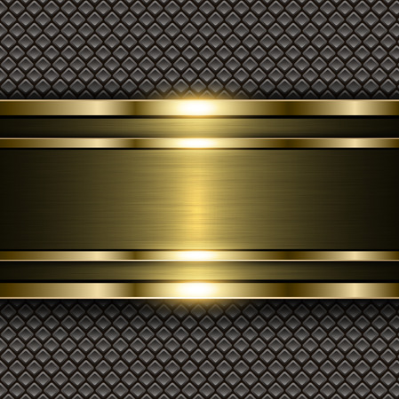 shiny metal background: Metal gold background, shiny metallic banner on square pattern background,