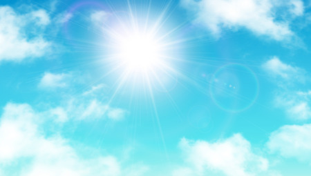 sunny: Sunny background, blue sky with white clouds and sun, vector illustration.