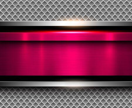 metallic texture: Background metallic pink with brushed metal texture, vector illustration.