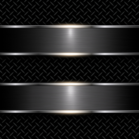 iron and steel: Abstract metal background black, vector illustration