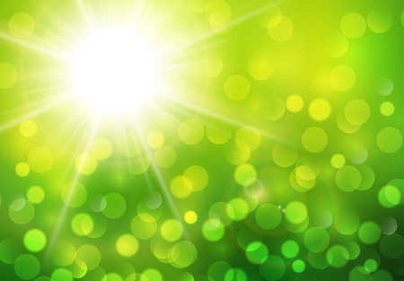 beauty of nature: Green sunny background, vector abstract sun and bokeh Illustration