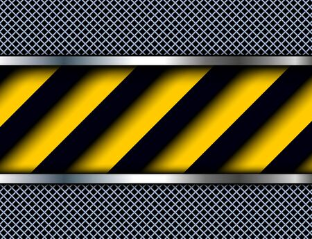 metallic: Background with warning stripes, vector illustration.