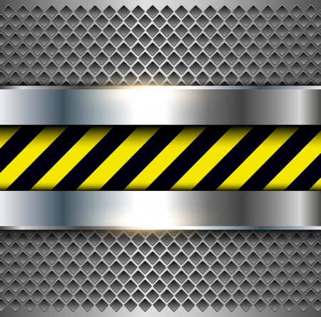 plate: Background with warning stripes, metallic vector illustration.