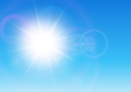 bright sun: Sun with lens flare, vector background.