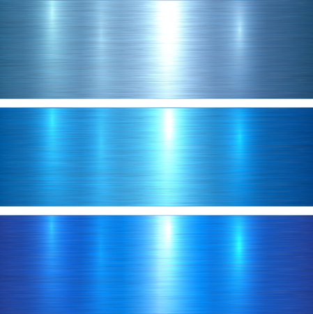Metal textures bluebrushed metallic background, vector illustration.