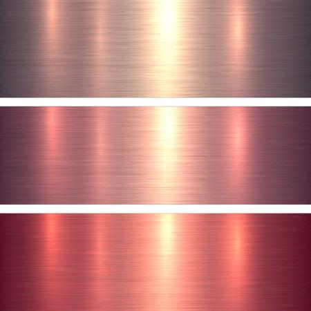 Metall Texturen rosa und rot gebürstetem Metallic-Hintergrund, Vektor-Illustration.