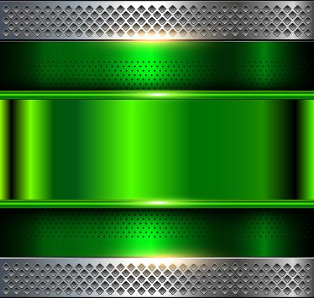 Metaliczne tło, zielona metalowa perforowana tekstura, wektor polerowany metal