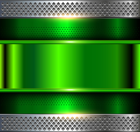 Metallic background, green metal perforated texture, vector polished metal Illustration
