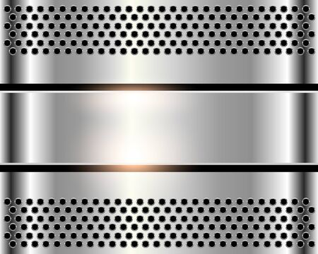 shiny metal background: Silver metal background, shiny metallic chrome plate with holes