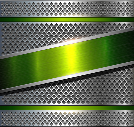 reflective: Background metallic silver with green brushed metal texture, vector illustration. Illustration