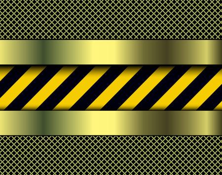 hazard stripes: Background with warning stripes, metallic vector illustration.
