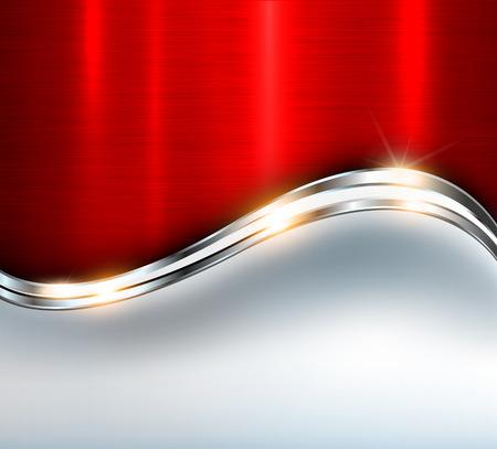 Red metallic background, vector design.