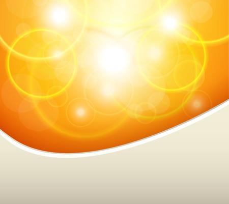 Orange natural background, sunny with bokeh, vector illustration. Illustration