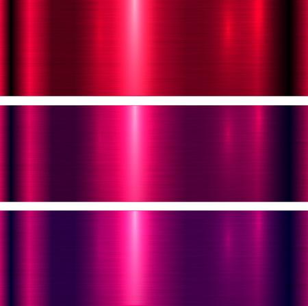 Fond de texture métallique, textures métallisées brossées rouges et violettes Vecteurs