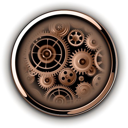 Boutons brillants, chrome métallique avec des engrenages de pignon de machines à l'intérieur, illustration vectorielle Banque d'images - 77027943