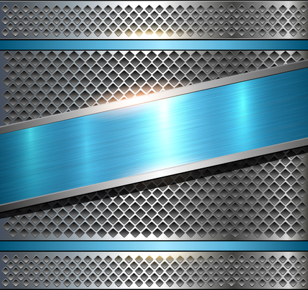brushed steel: Background metallic silver with blue brushed metal texture, vector illustration.