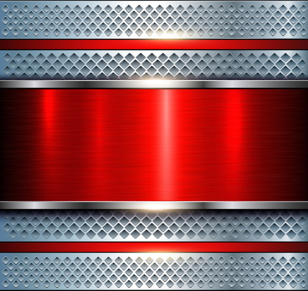 surface: Background metallic silver with red brushed metal texture, vector illustration. Illustration