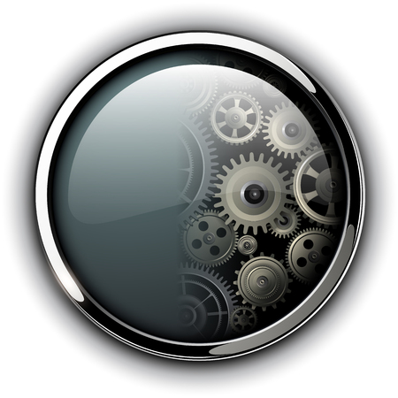 Buttons shiny, chrome metallic with machinery cog gears inside, vector illustration Illustration