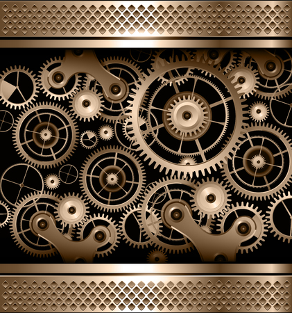 rackwheel: Abstract background metallic with cogs and gears, vector.