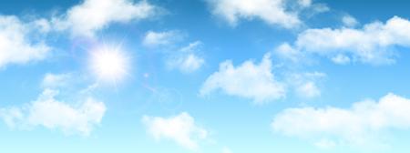 Zonnige achtergrond, blauwe lucht met witte wolken en zon, vectorillustratie. Vector Illustratie