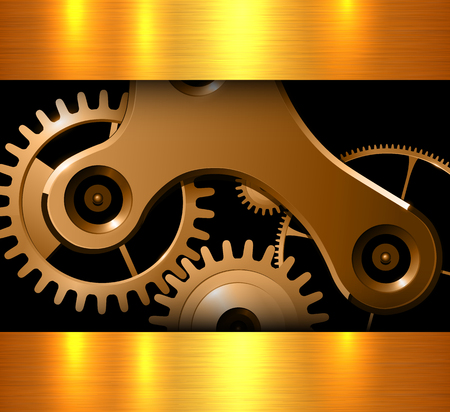 rackwheel: Background gold machinery cogs and gears, metallic vector illustration.