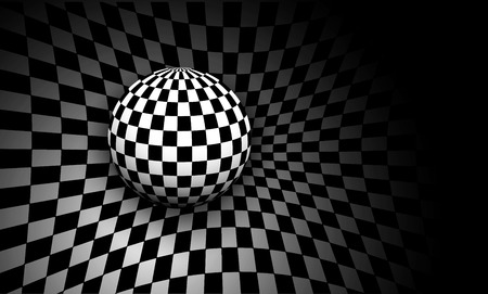Background 3d black and white with checkered sphere, vector illustration