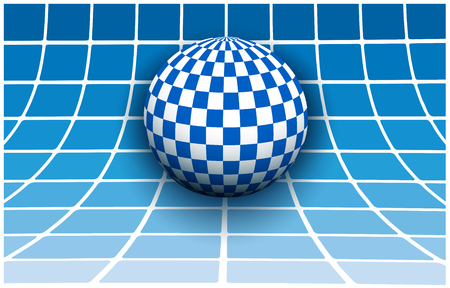 tile pattern: Background 3d white and blue with checkered sphere, vector illustration