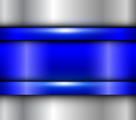 Background blue metalic texture, vector polished metal