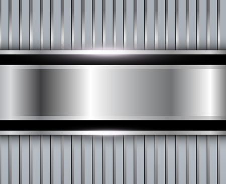 Background silver metallic with striped pattern, vector polished metal