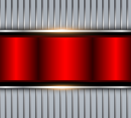 Background silver red metallic with striped pattern, vector polished metal Illustration