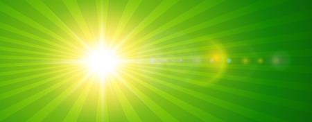 レンズ フレアとベクトル夏イラスト背景に日当たりの良い、緑太陽  イラスト・ベクター素材